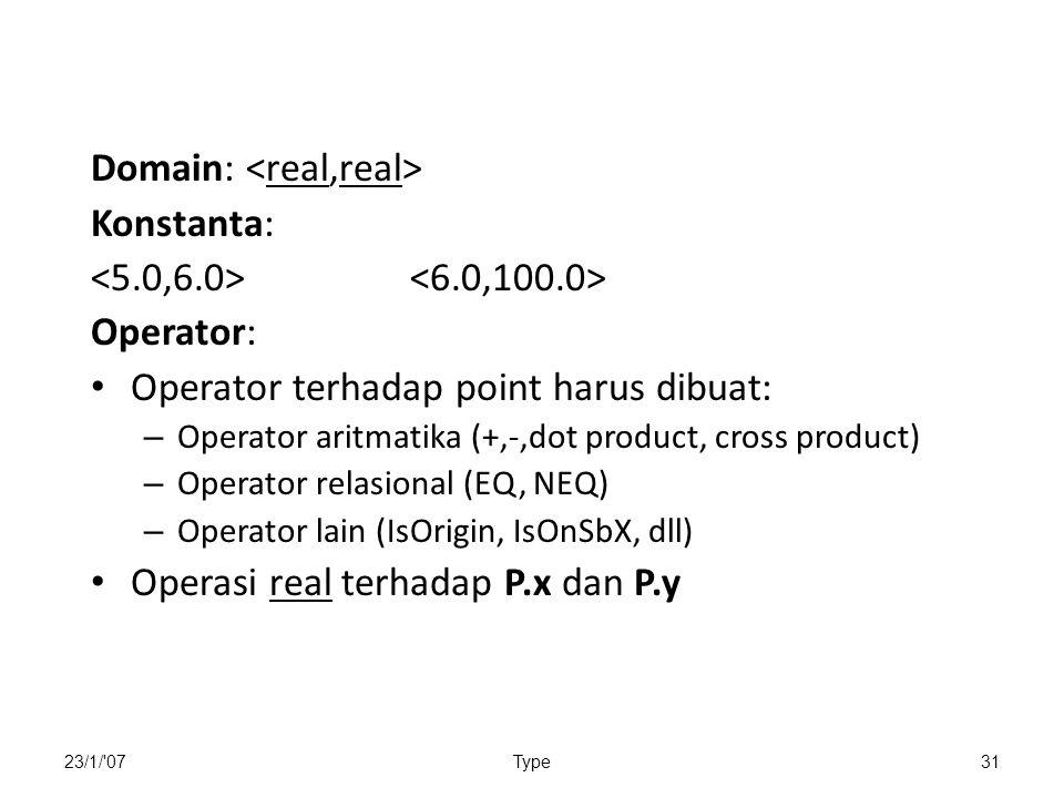 23/1/ 07Type31 Domain: Konstanta: Operator: Operator terhadap point harus dibuat: – Operator aritmatika (+,-,dot product, cross product) – Operator relasional (EQ, NEQ) – Operator lain (IsOrigin, IsOnSbX, dll) Operasi real terhadap P.x dan P.y