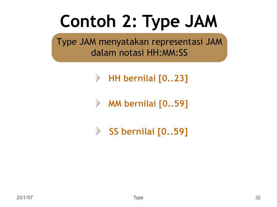 23/1/ 07Type32 Contoh 2: Type JAM