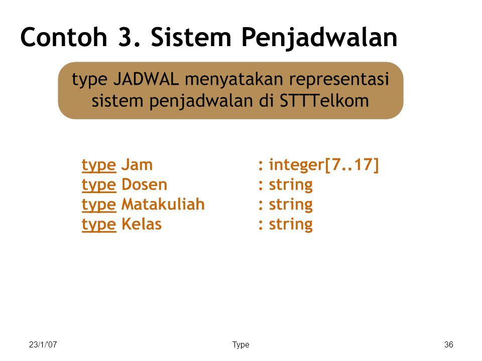 23/1/ 07Type36 Contoh 3. Sistem Penjadwalan