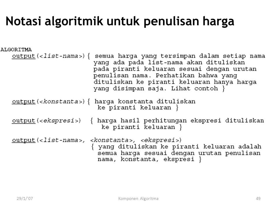 29/1/ 07Komponen Algoritma49 Notasi algoritmik untuk penulisan harga