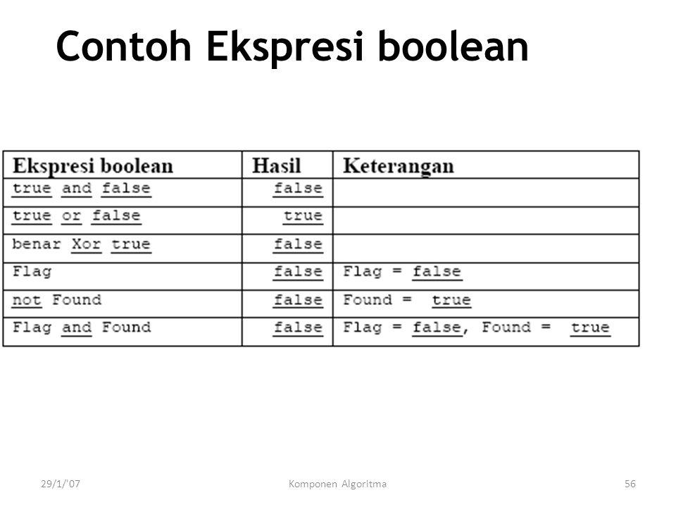 29/1/ 07Komponen Algoritma56 Contoh Ekspresi boolean
