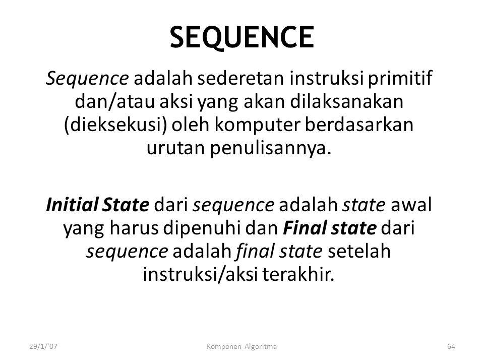 29/1/ 07Komponen Algoritma64 SEQUENCE Sequence adalah sederetan instruksi primitif dan/atau aksi yang akan dilaksanakan (dieksekusi) oleh komputer berdasarkan urutan penulisannya.