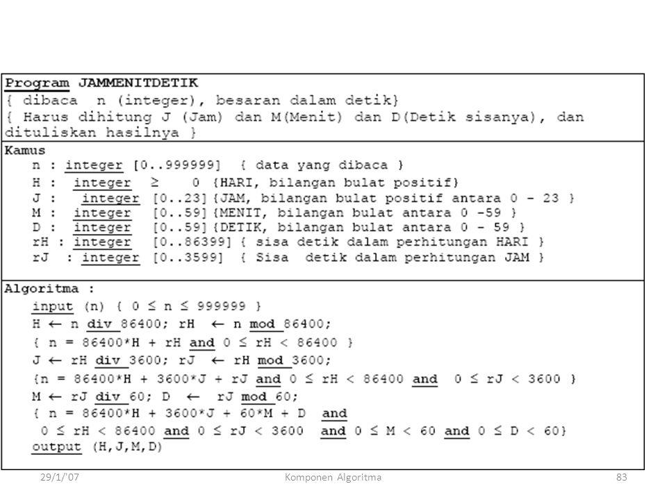 29/1/ 07Komponen Algoritma83