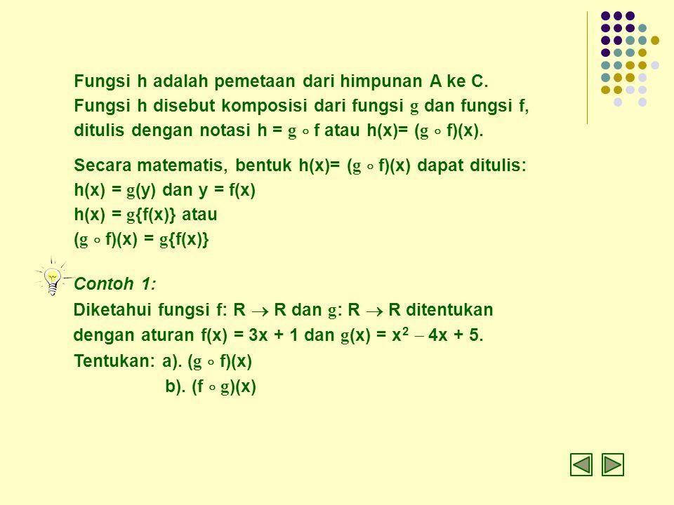 Fungsi h adalah pemetaan dari himpunan A ke C. Fungsi h disebut komposisi dari fungsi g dan fungsi f, ditulis dengan notasi h = g  f atau h(x)= ( g 
