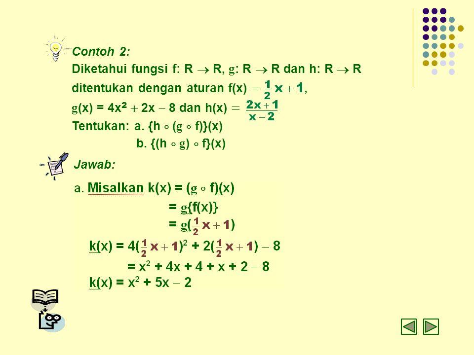 Contoh 2: Diketahui fungsi f: R  R, g : R  R dan h: R  R ditentukan dengan aturan f(x) , g (x) = 4x 2  2x  8 dan h(x)  Tentukan: a. {h  ( g 