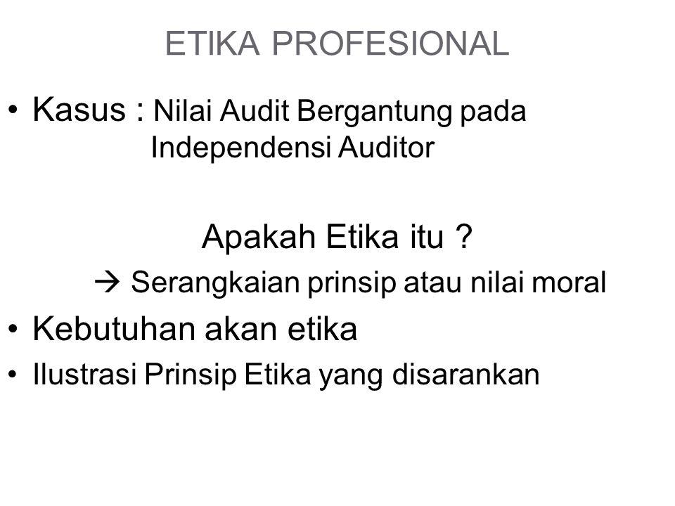 ETIKA PROFESIONAL Kasus : Nilai Audit Bergantung pada Independensi Auditor Apakah Etika itu .