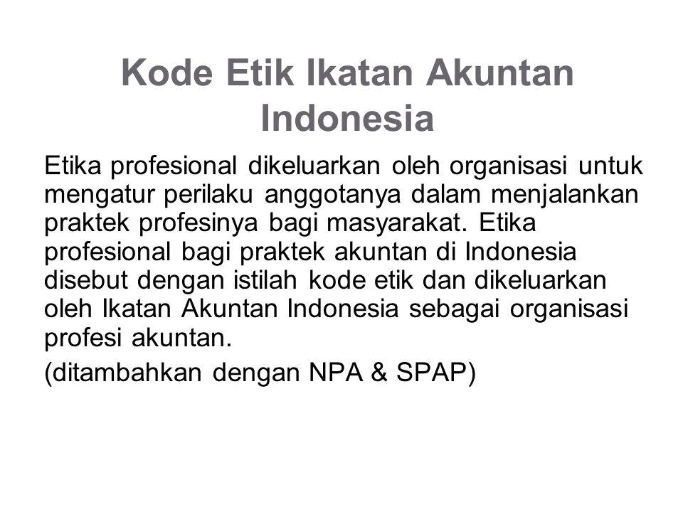 Kode Etik Ikatan Akuntan Indonesia Etika profesional dikeluarkan oleh organisasi untuk mengatur perilaku anggotanya dalam menjalankan praktek profesinya bagi masyarakat.