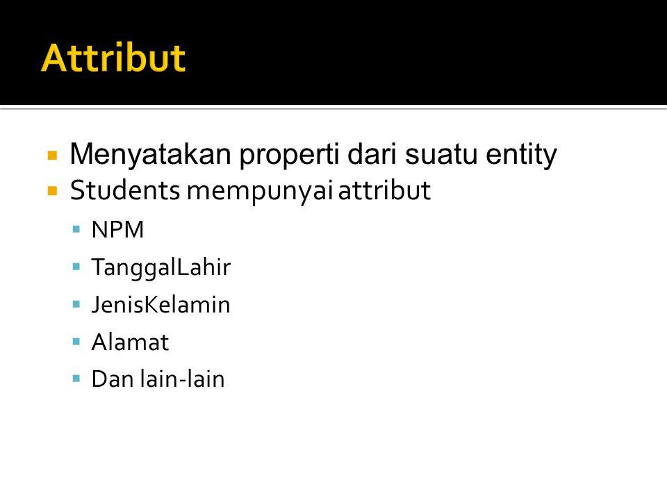  Menyatakan properti dari suatu entity  Students mempunyai attribut  NPM  TanggalLahir  JenisKelamin  Alamat  Dan lain-lain