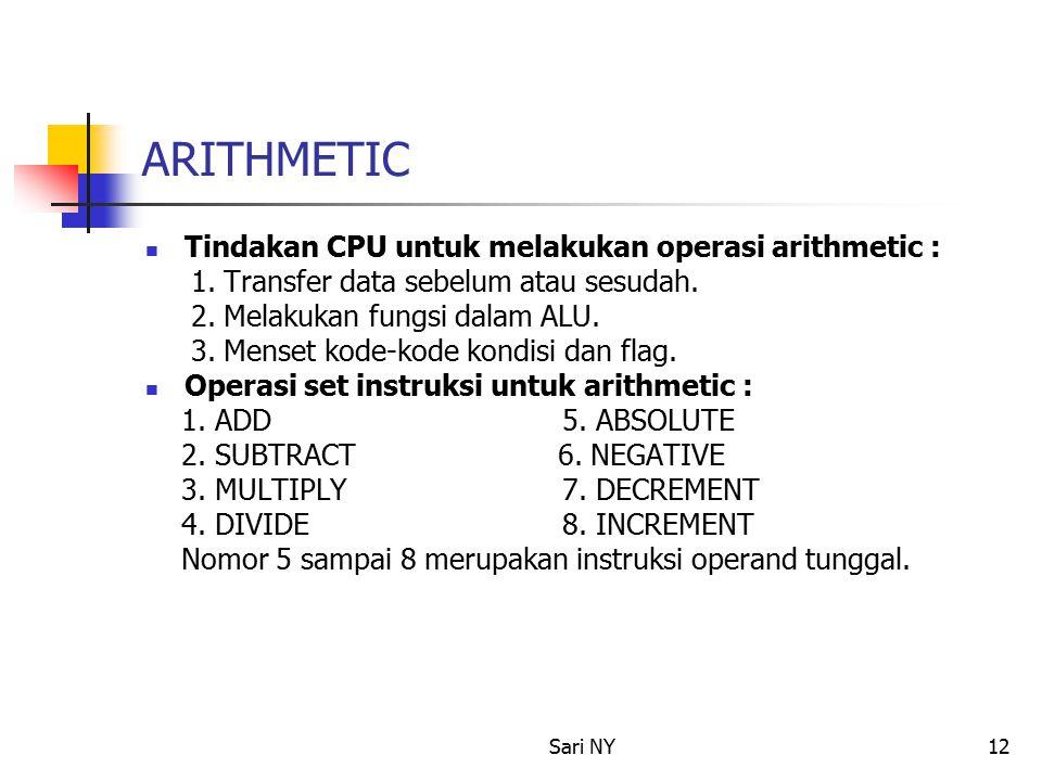 Sari NY12 ARITHMETIC Tindakan CPU untuk melakukan operasi arithmetic : 1.