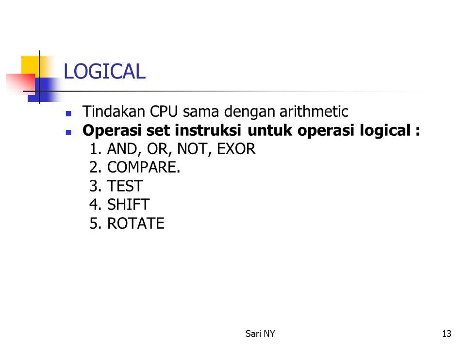 Sari NY13 LOGICAL Tindakan CPU sama dengan arithmetic Operasi set instruksi untuk operasi logical : 1.