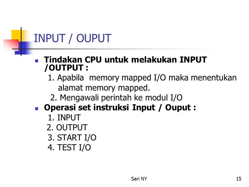 Sari NY15 INPUT / OUPUT Tindakan CPU untuk melakukan INPUT /OUTPUT : 1.