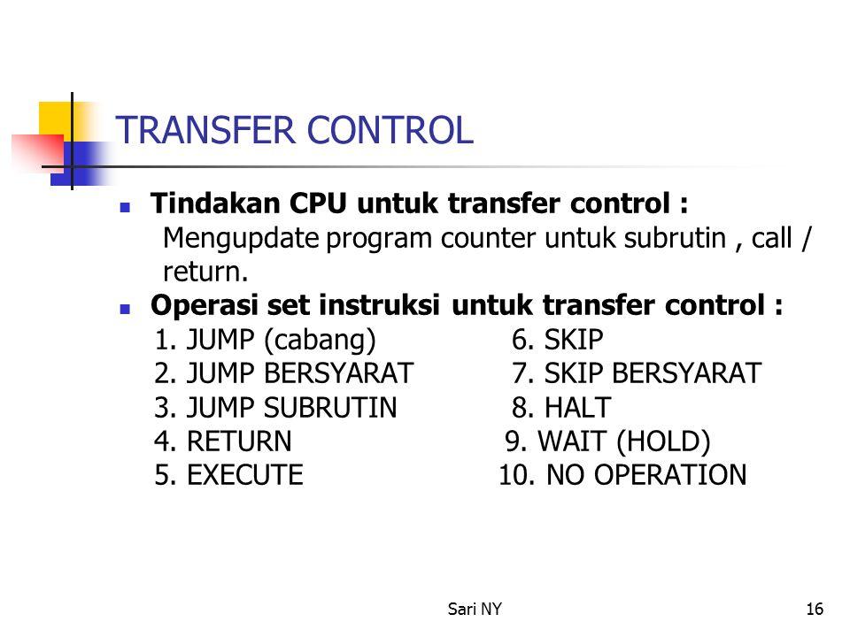 Sari NY16 TRANSFER CONTROL Tindakan CPU untuk transfer control : Mengupdate program counter untuk subrutin, call / return.