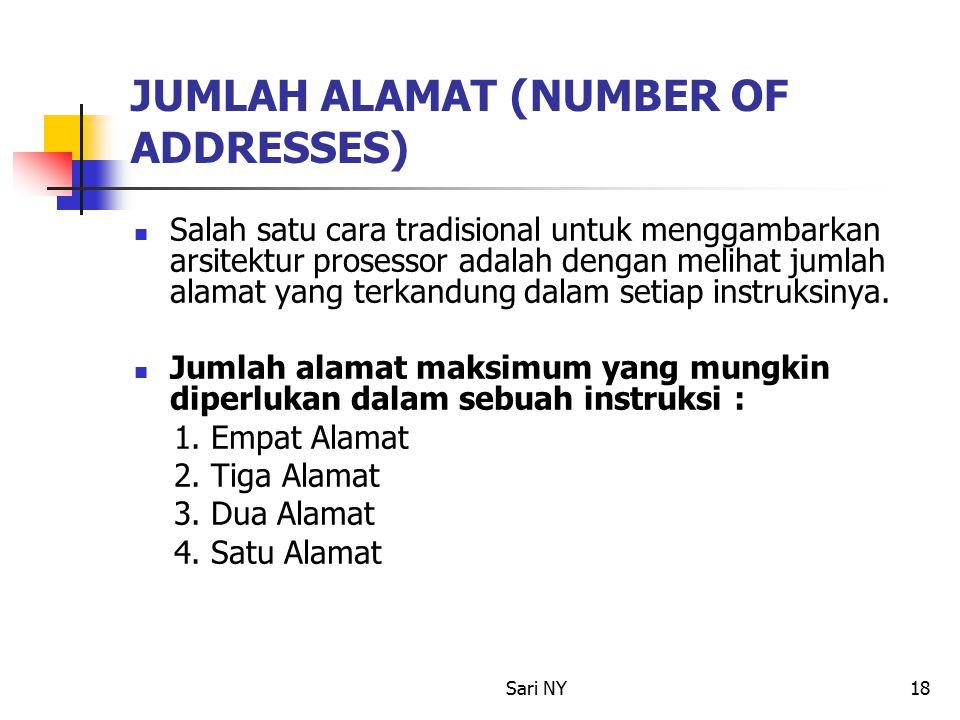 Sari NY18 JUMLAH ALAMAT (NUMBER OF ADDRESSES) Salah satu cara tradisional untuk menggambarkan arsitektur prosessor adalah dengan melihat jumlah alamat yang terkandung dalam setiap instruksinya.