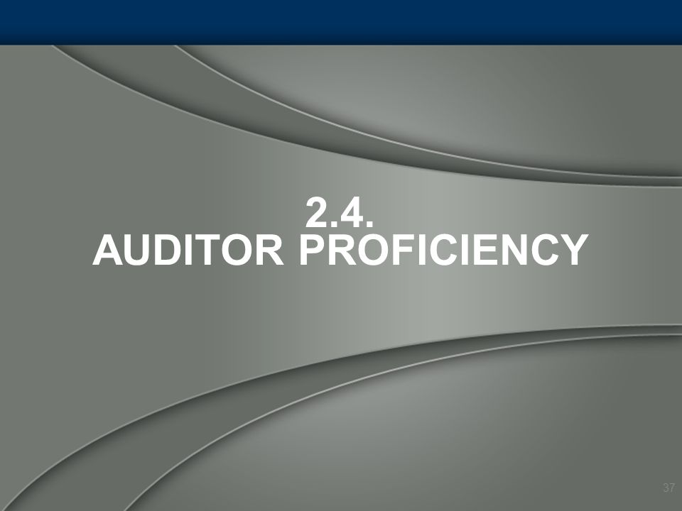 2.4. AUDITOR PROFICIENCY 37