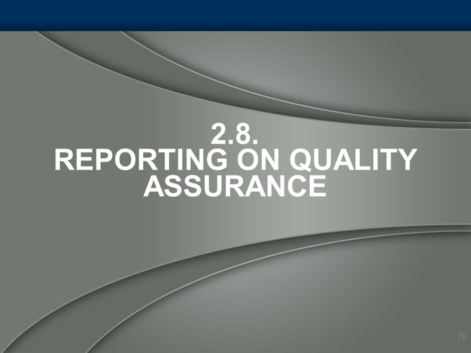 2.8. REPORTING ON QUALITY ASSURANCE 78