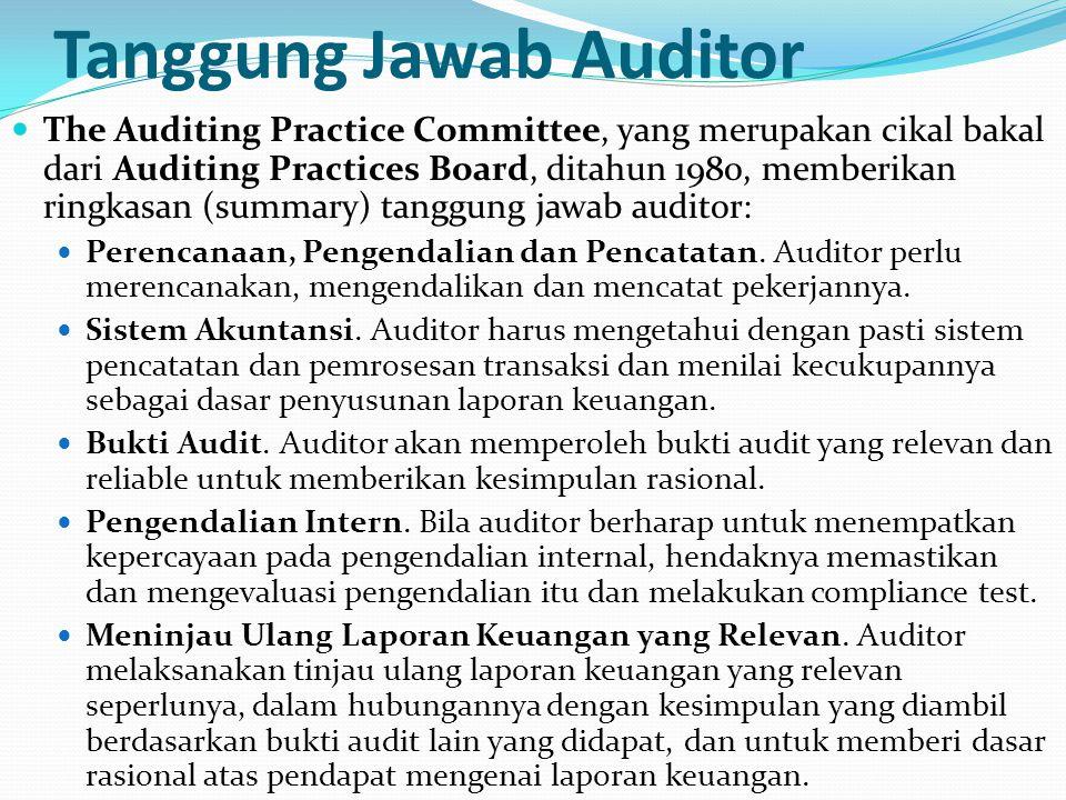 Tanggung Jawab Auditor The Auditing Practice Committee, yang merupakan cikal bakal dari Auditing Practices Board, ditahun 1980, memberikan ringkasan (summary) tanggung jawab auditor: Perencanaan, Pengendalian dan Pencatatan.