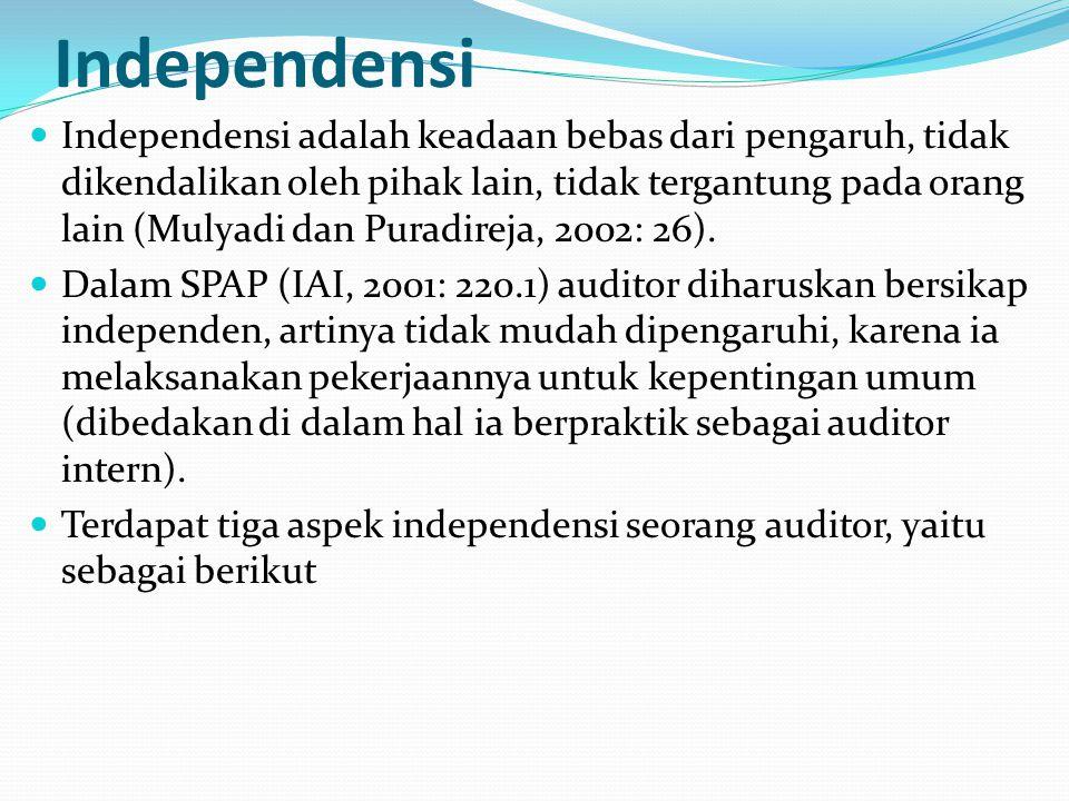 Independensi Independensi adalah keadaan bebas dari pengaruh, tidak dikendalikan oleh pihak lain, tidak tergantung pada orang lain (Mulyadi dan Puradireja, 2002: 26).