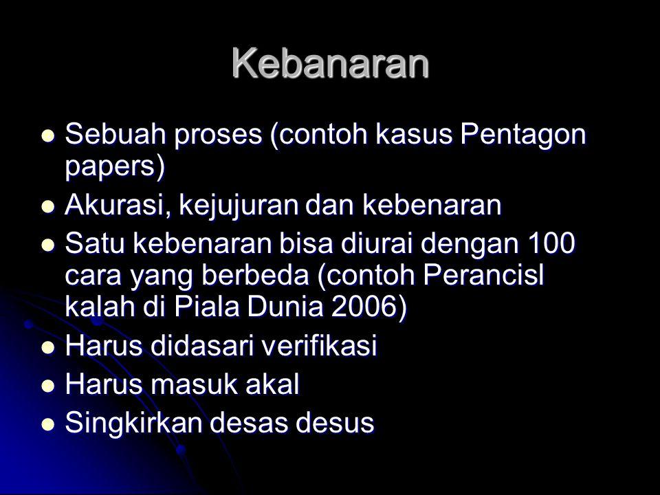 Kebanaran Sebuah proses (contoh kasus Pentagon papers) Sebuah proses (contoh kasus Pentagon papers) Akurasi, kejujuran dan kebenaran Akurasi, kejujura