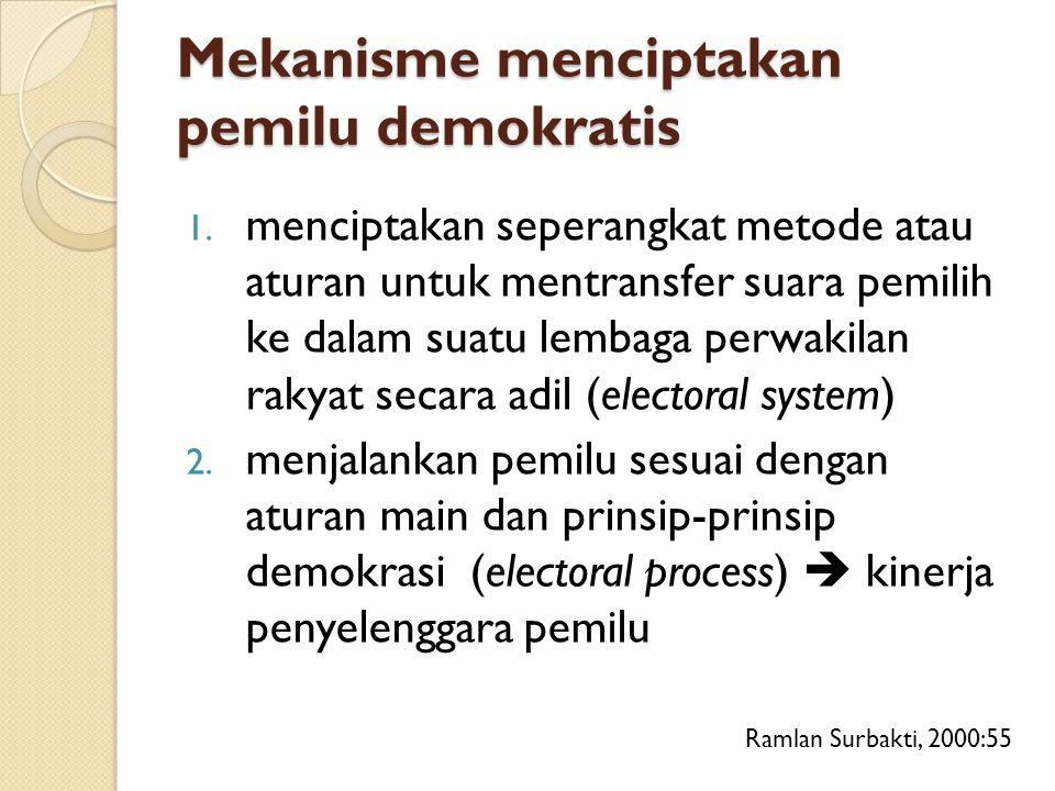Mekanisme menciptakan pemilu demokratis 1. menciptakan seperangkat metode atau aturan untuk mentransfer suara pemilih ke dalam suatu lembaga perwakila