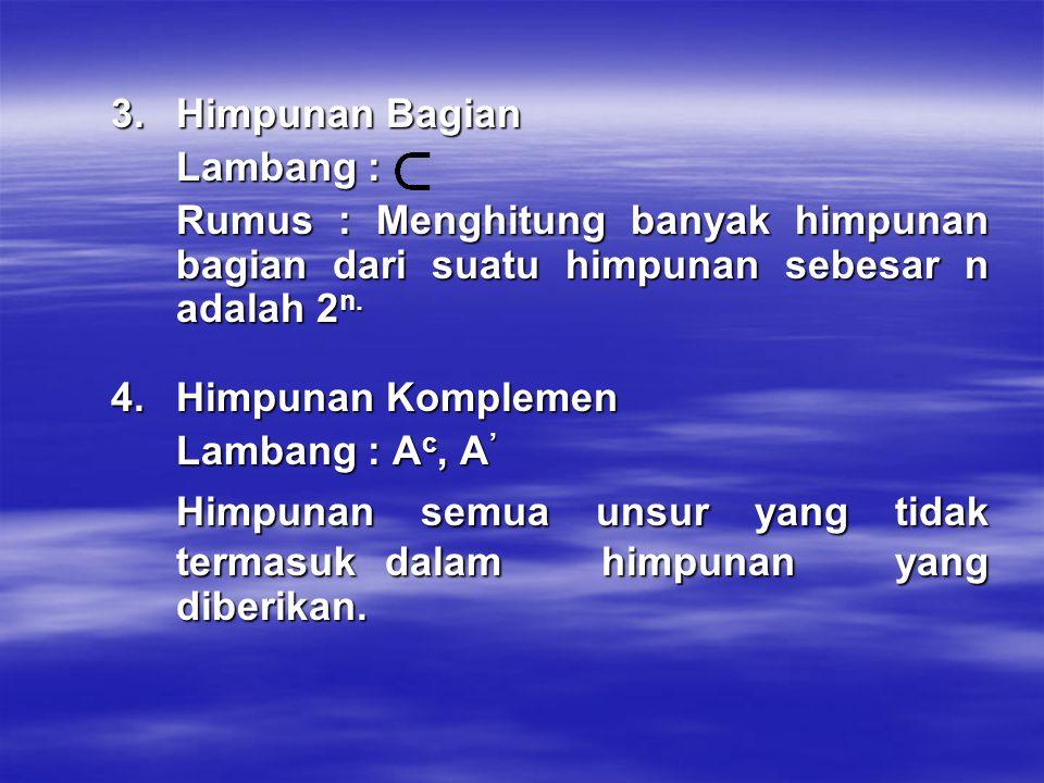  Operasi Himpunan 1.Operasi Gabungan (union) Lambang : A U B atau A + B Gabungan dari himpunan A atau B adalah semua unsur yang terdapat di A atau B sekaligus.