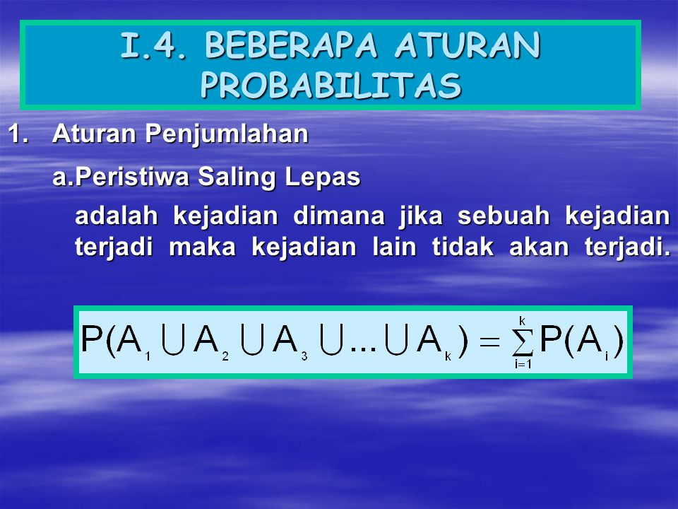 b.Peristiwa Tidak Saling Lepas adalah kejadian dimana jika sebuah kejadian terjadi maka kejadian lain dapat terjadi secara bersamaan.