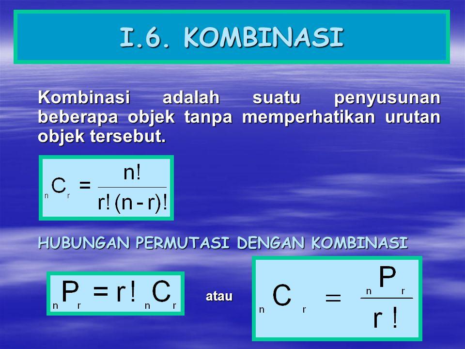 I.6. KOMBINASI Kombinasi adalah suatu penyusunan beberapa objek tanpa memperhatikan urutan objek tersebut. HUBUNGAN PERMUTASI DENGAN KOMBINASI atau