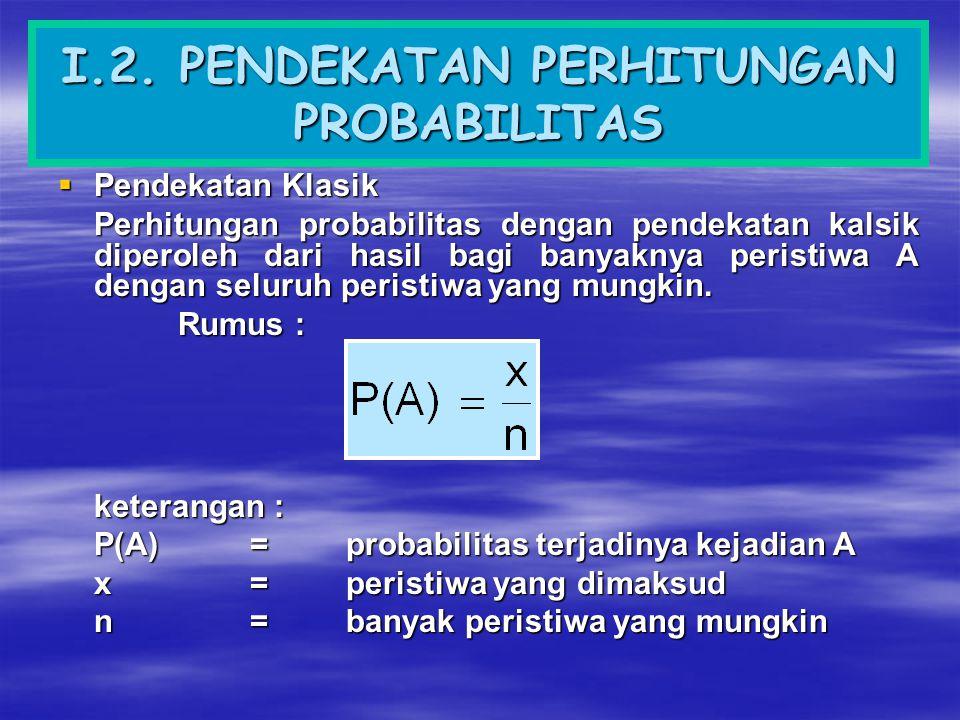  Pendekatan Frekuensi relatif Perhitungan probabilitas dengan pendekatan frekuensi relatif ditentukan melalui percobaan.