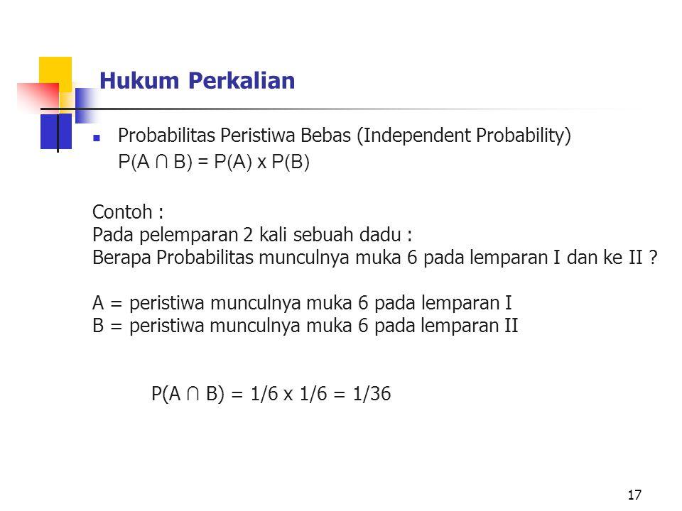 Hukum Perkalian Probabilitas Peristiwa Bebas (Independent Probability) P(A ∩ B) = P(A) x P(B) Contoh : Pada pelemparan 2 kali sebuah dadu : Berapa Pro