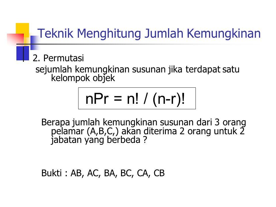 Teknik Menghitung Jumlah Kemungkinan 2. Permutasi sejumlah kemungkinan susunan jika terdapat satu kelompok objek Berapa jumlah kemungkinan susunan dar