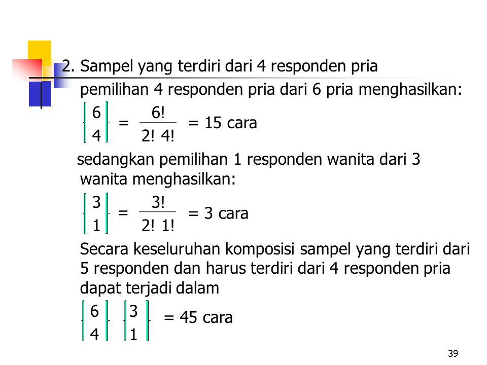 2. Sampel yang terdiri dari 4 responden pria pemilihan 4 responden pria dari 6 pria menghasilkan: 6 6! 4 2! 4! sedangkan pemilihan 1 responden wanita