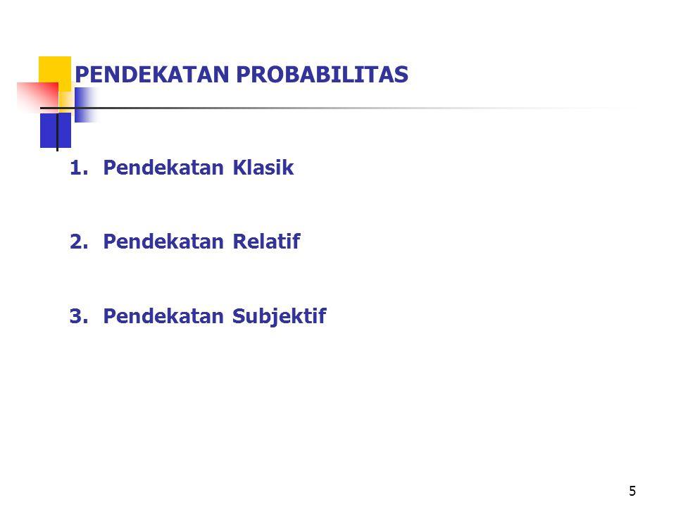 5 PENDEKATAN PROBABILITAS 1.Pendekatan Klasik 2.Pendekatan Relatif 3.Pendekatan Subjektif