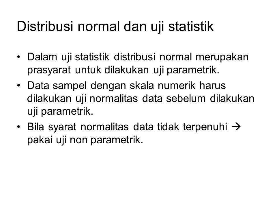 Distribusi normal dan uji statistik Dalam uji statistik distribusi normal merupakan prasyarat untuk dilakukan uji parametrik. Data sampel dengan skala