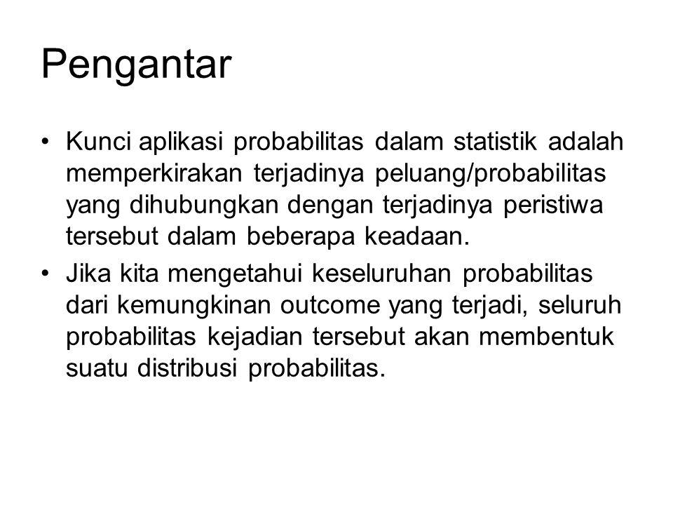 Pengantar Kunci aplikasi probabilitas dalam statistik adalah memperkirakan terjadinya peluang/probabilitas yang dihubungkan dengan terjadinya peristiw