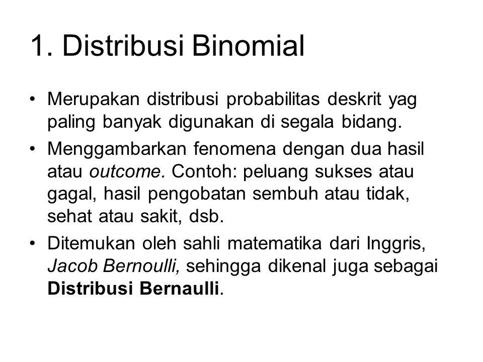 1. Distribusi Binomial Merupakan distribusi probabilitas deskrit yag paling banyak digunakan di segala bidang. Menggambarkan fenomena dengan dua hasil