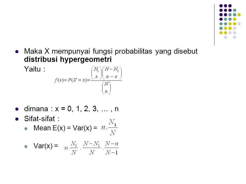 Maka X mempunyai fungsi probabilitas yang disebut distribusi hypergeometri Yaitu : dimana : x = 0, 1, 2, 3, …, n Sifat-sifat : Mean E(x) = Var(x) = Va