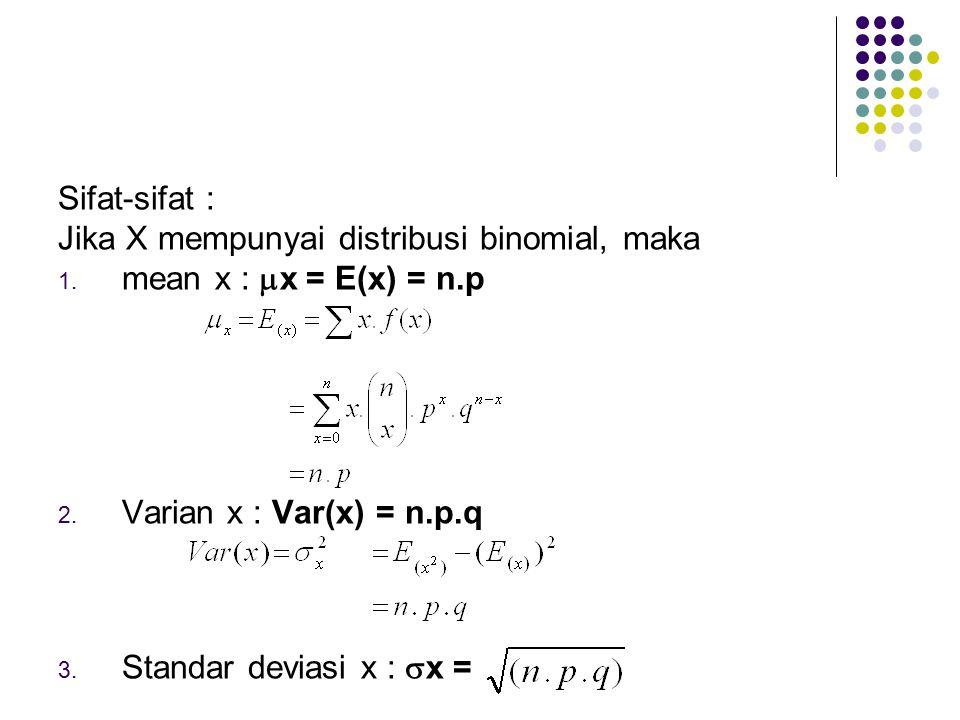 Sifat-sifat : Jika X mempunyai distribusi binomial, maka 1. mean x :  x = E(x) = n.p 2. Varian x : Var(x) = n.p.q 3. Standar deviasi x :  x =
