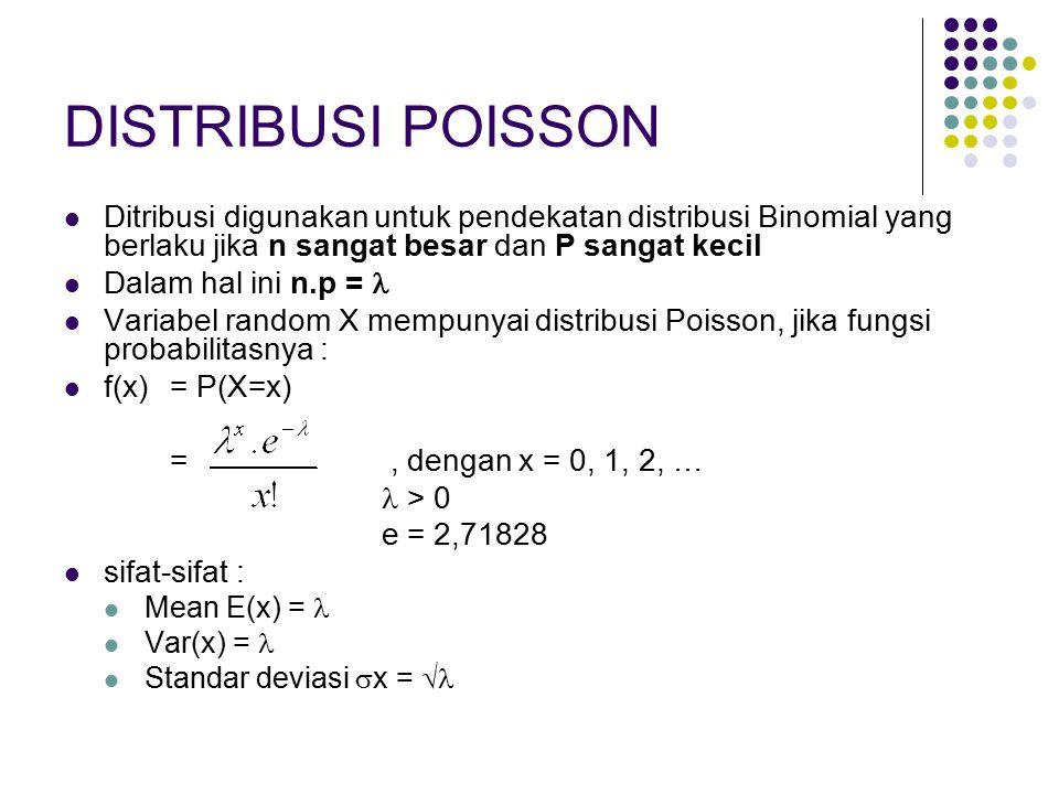 DISTRIBUSI POISSON Ditribusi digunakan untuk pendekatan distribusi Binomial yang berlaku jika n sangat besar dan P sangat kecil Dalam hal ini n.p = Va