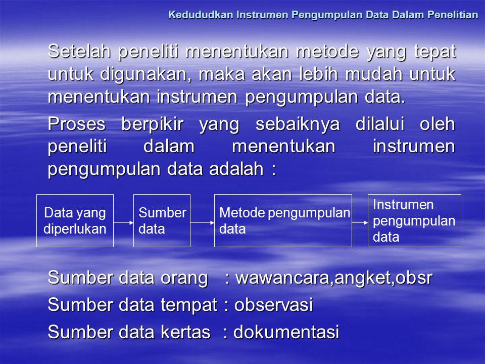 Kedududkan Instrumen Pengumpulan Data Dalam Penelitian Setelah peneliti menentukan metode yang tepat untuk digunakan, maka akan lebih mudah untuk mene
