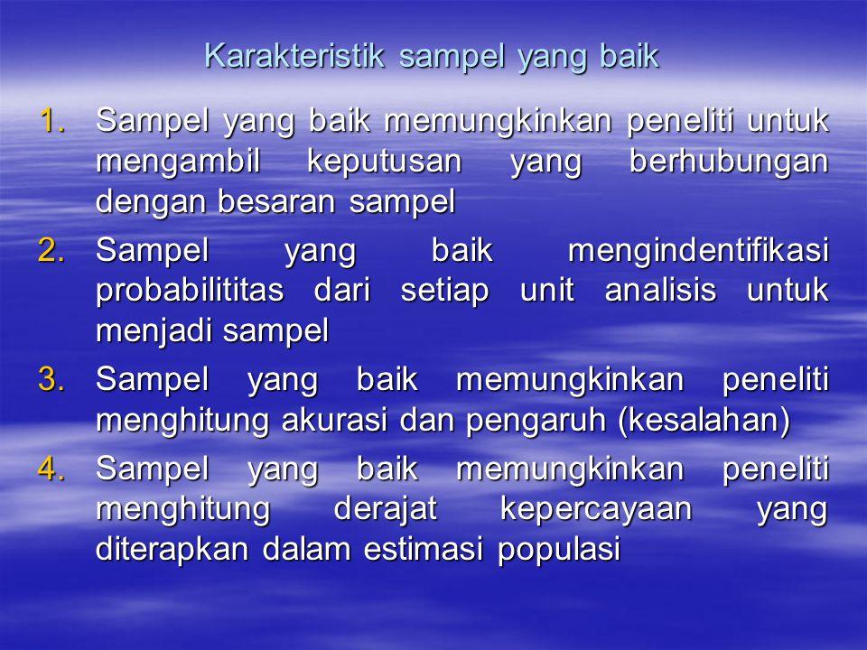 Karakteristik sampel yang baik 1.Sampel yang baik memungkinkan peneliti untuk mengambil keputusan yang berhubungan dengan besaran sampel 2.Sampel yang