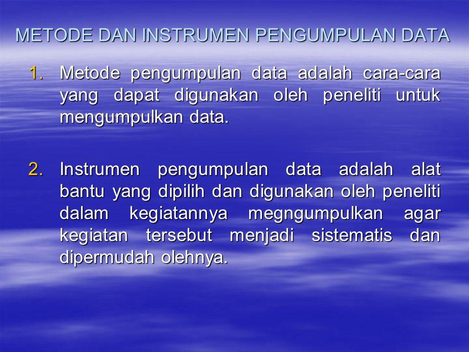 METODE DAN INSTRUMEN PENGUMPULAN DATA 1.Metode pengumpulan data adalah cara-cara yang dapat digunakan oleh peneliti untuk mengumpulkan data. 2.Instrum