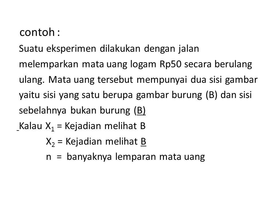 contoh : Suatu eksperimen dilakukan dengan jalan melemparkan mata uang logam Rp50 secara berulang ulang.