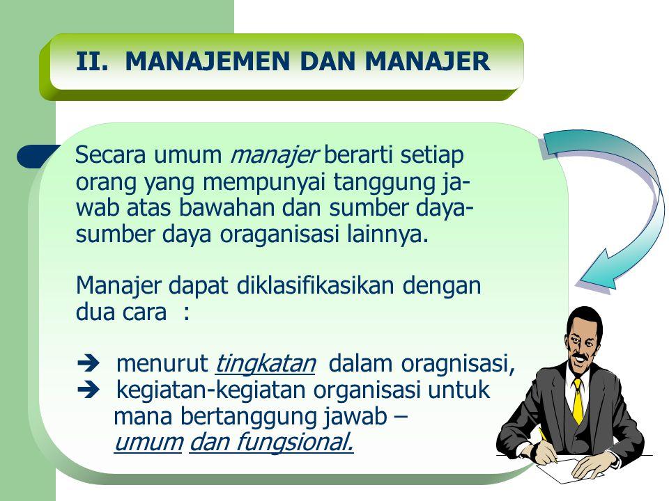 II. MANAJEMEN DAN MANAJER Secara umum manajer berarti setiap orang yang mempunyai tanggung ja- wab atas bawahan dan sumber daya- sumber daya oraganisa