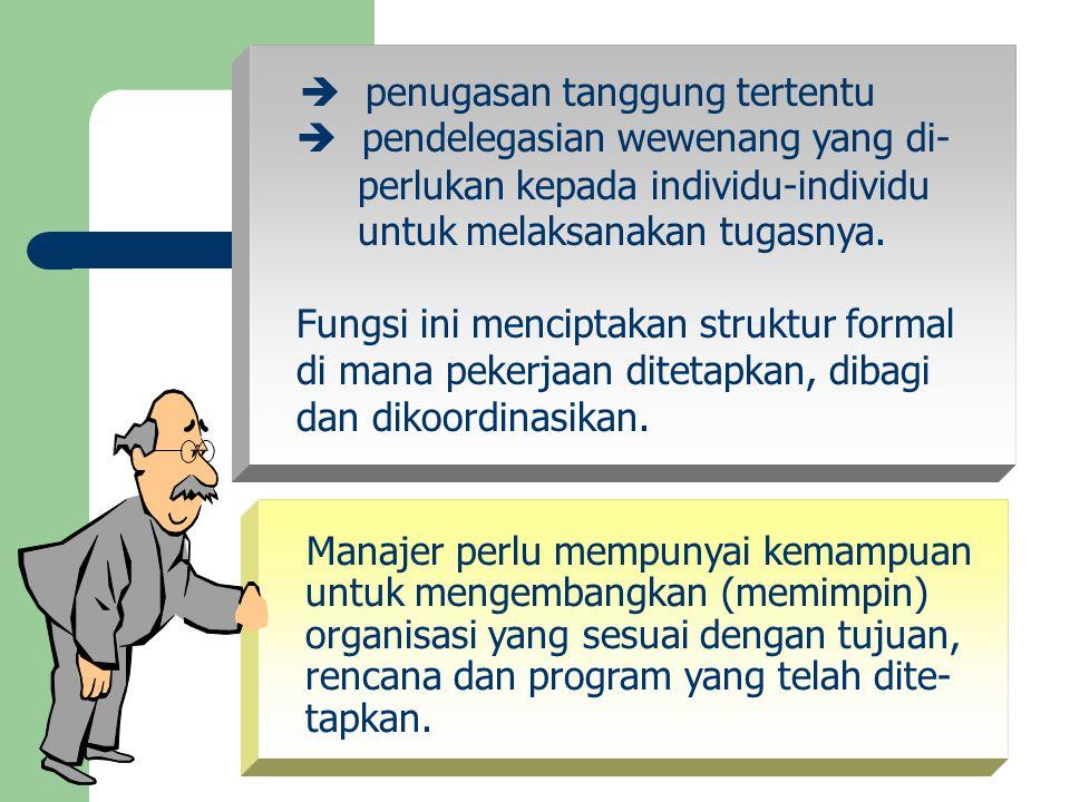  penugasan tanggung tertentu  pendelegasian wewenang yang di- perlukan kepada individu-individu untuk melaksanakan tugasnya. Fungsi ini menciptakan