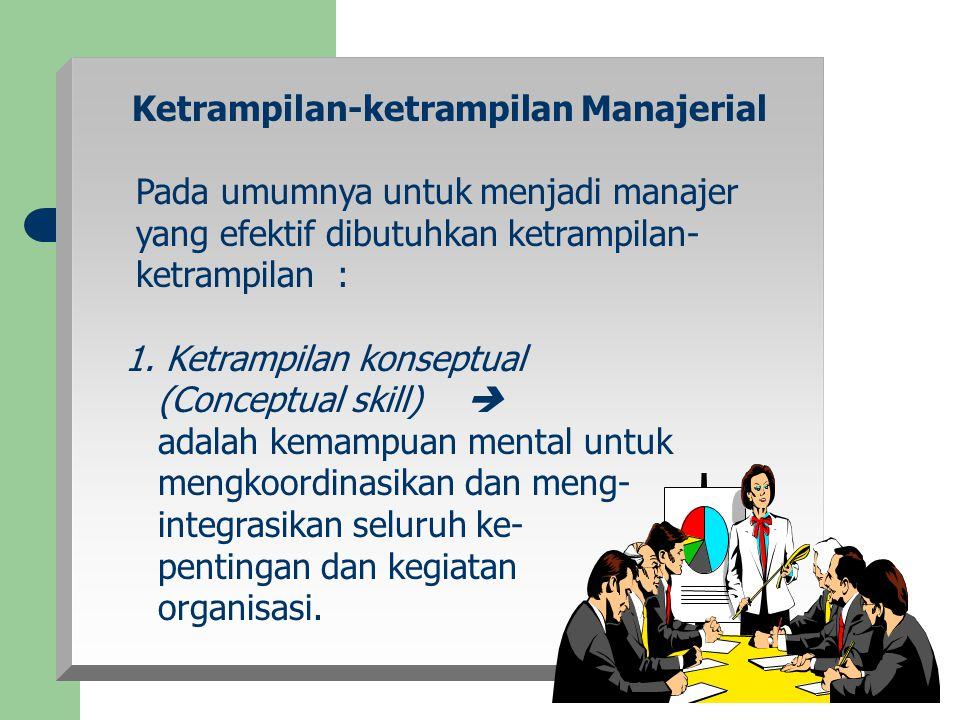 Ketrampilan-ketrampilan Manajerial Pada umumnya untuk menjadi manajer yang efektif dibutuhkan ketrampilan- ketrampilan : 1. Ketrampilan konseptual (Co