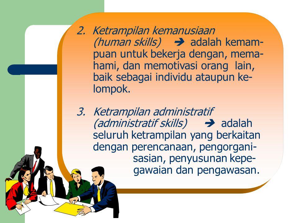 2. Ketrampilan kemanusiaan (human skills)  adalah kemam- puan untuk bekerja dengan, mema- hami, dan memotivasi orang lain, baik sebagai individu atau