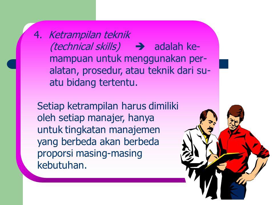 4. Ketrampilan teknik (technical skills)  adalah ke- mampuan untuk menggunakan per- alatan, prosedur, atau teknik dari su- atu bidang tertentu. Setia