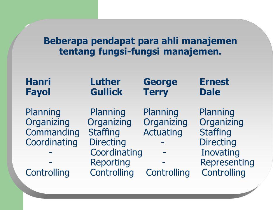 Beberapa pendapat para ahli manajemen tentang fungsi-fungsi manajemen. Hanri Luther George Ernest Fayol Gullick Terry Dale Planning Planning Organizin
