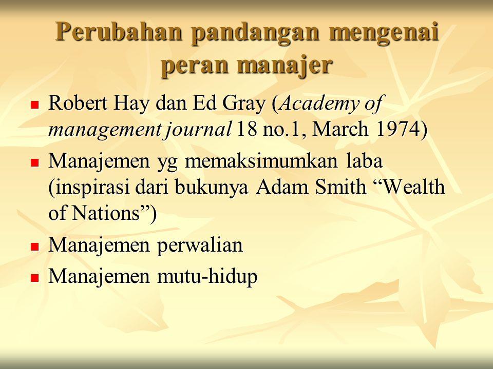 Perubahan pandangan mengenai peran manajer Robert Hay dan Ed Gray (Academy of management journal 18 no.1, March 1974) Robert Hay dan Ed Gray (Academy