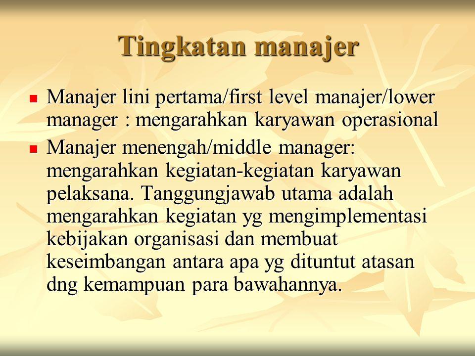 Tingkatan manajer Manajer lini pertama/first level manajer/lower manager : mengarahkan karyawan operasional Manajer lini pertama/first level manajer/l