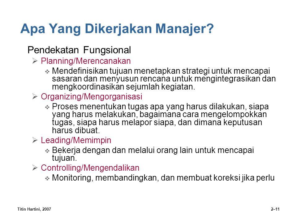 Titin Hartini, 20072–11 Apa Yang Dikerjakan Manajer? Pendekatan Fungsional  Planning/Merencanakan  Mendefinisikan tujuan menetapkan strategi untuk m